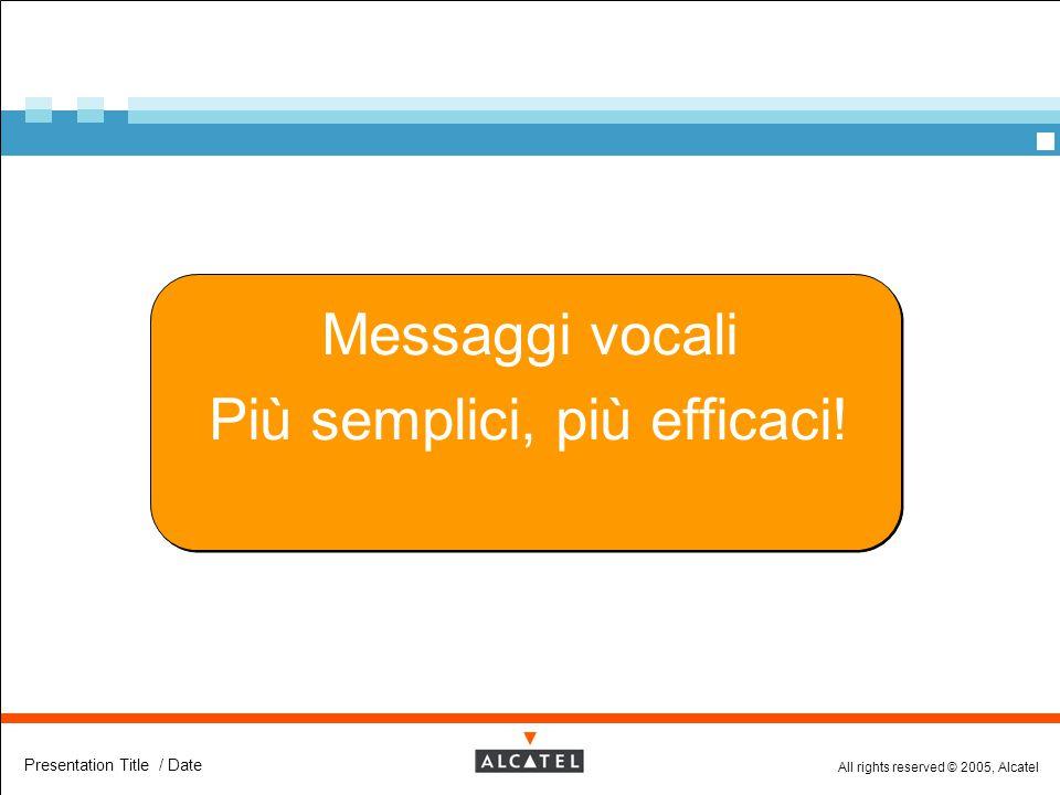 All rights reserved © 2005, Alcatel Presentation Title / Date Messaggi vocali Più semplici, più efficaci!