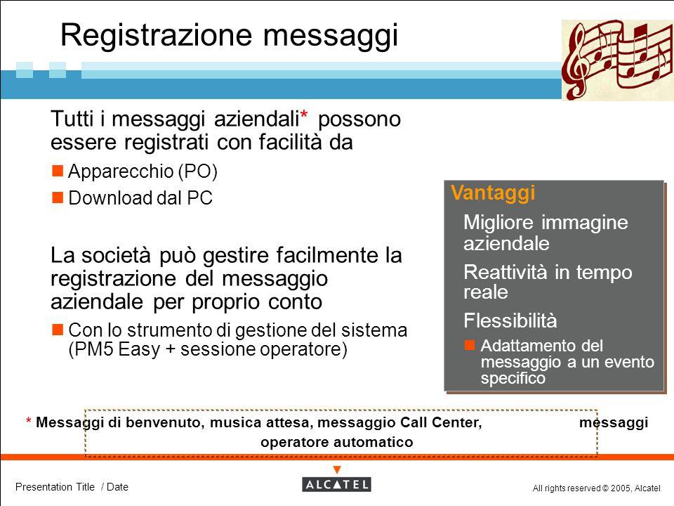 All rights reserved © 2005, Alcatel Presentation Title / Date Registrazione messaggi  Tutti i messaggi aziendali* possono essere registrati con facil