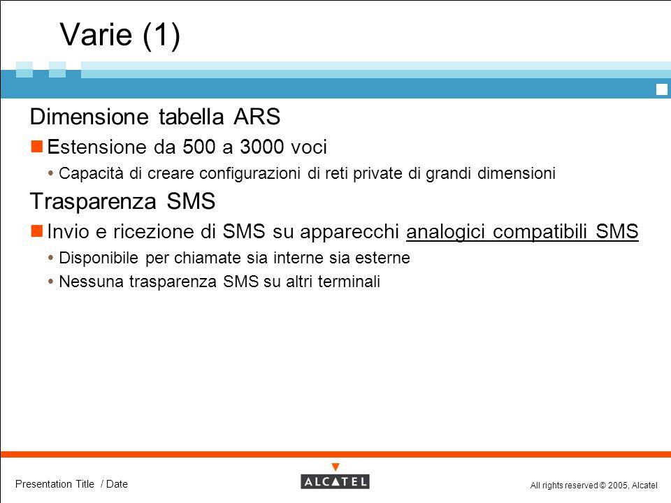 All rights reserved © 2005, Alcatel Presentation Title / Date Varie (1)  Dimensione tabella ARS Estensione da 500 a 3000 voci  Capacità di creare co