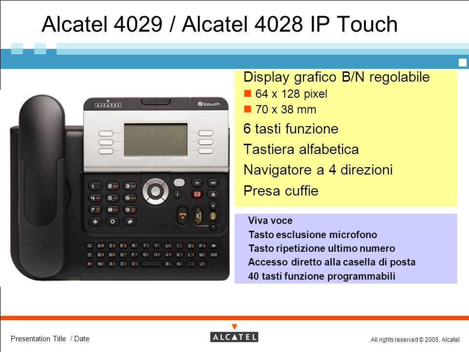 All rights reserved © 2005, Alcatel Presentation Title / Date Alcatel 4029 / Alcatel 4028 IP Touch  Display grafico B/N regolabile 64 x 128 pixel 70