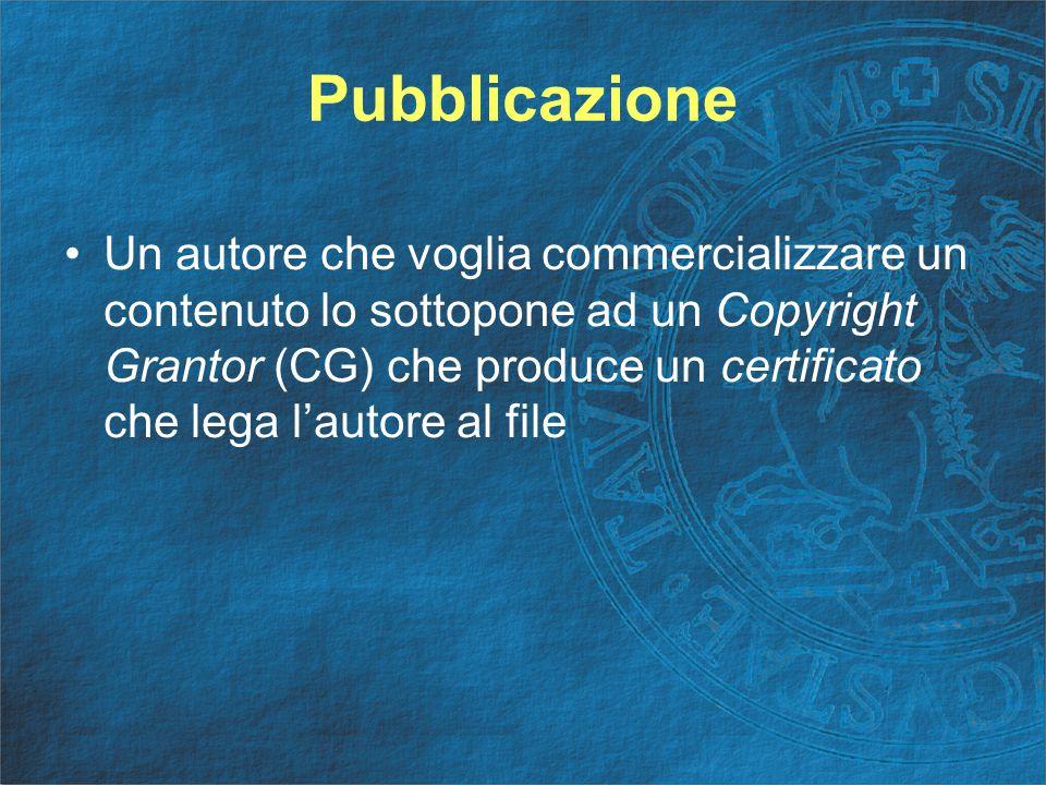 Pubblicazione Un autore che voglia commercializzare un contenuto lo sottopone ad un Copyright Grantor (CG) che produce un certificato che lega l'autore al file