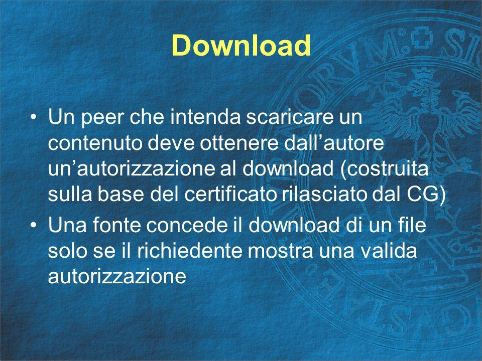 Download Un peer che intenda scaricare un contenuto deve ottenere dall'autore un'autorizzazione al download (costruita sulla base del certificato rilasciato dal CG) Una fonte concede il download di un file solo se il richiedente mostra una valida autorizzazione
