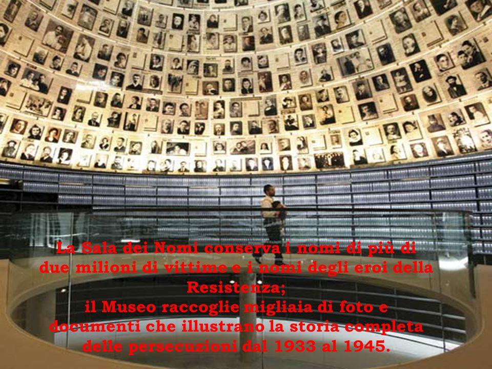 La Sala dei Nomi conserva i nomi di più di due milioni di vittime e i nomi degli eroi della Resistenza; il Museo raccoglie migliaia di foto e documenti che illustrano la storia completa delle persecuzioni dal 1933 al 1945.