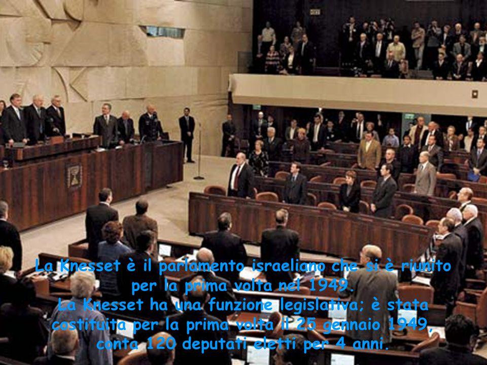 La Knesset è il parlamento israeliano che si è riunito per la prima volta nel 1949.