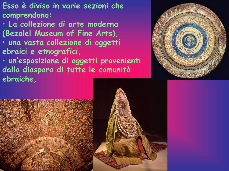 Esso è diviso in varie sezioni che comprendono: La collezione di arte moderna (Bezalel Museum of Fine Arts), una vasta collezione di oggetti ebraici e etnografici, un'esposizione di oggetti provenienti dalla diaspora di tutte le comunità ebraiche,