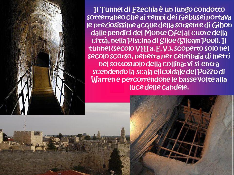 Il Tunnel di Ezechia è un lungo condotto sotterraneo che ai tempi dei Gebusei portava le preziosissime acque della sorgente di Gihon dalle pendici del Monte Ofel al cuore della città, nella Piscina di Siloe (Siloam Pool).