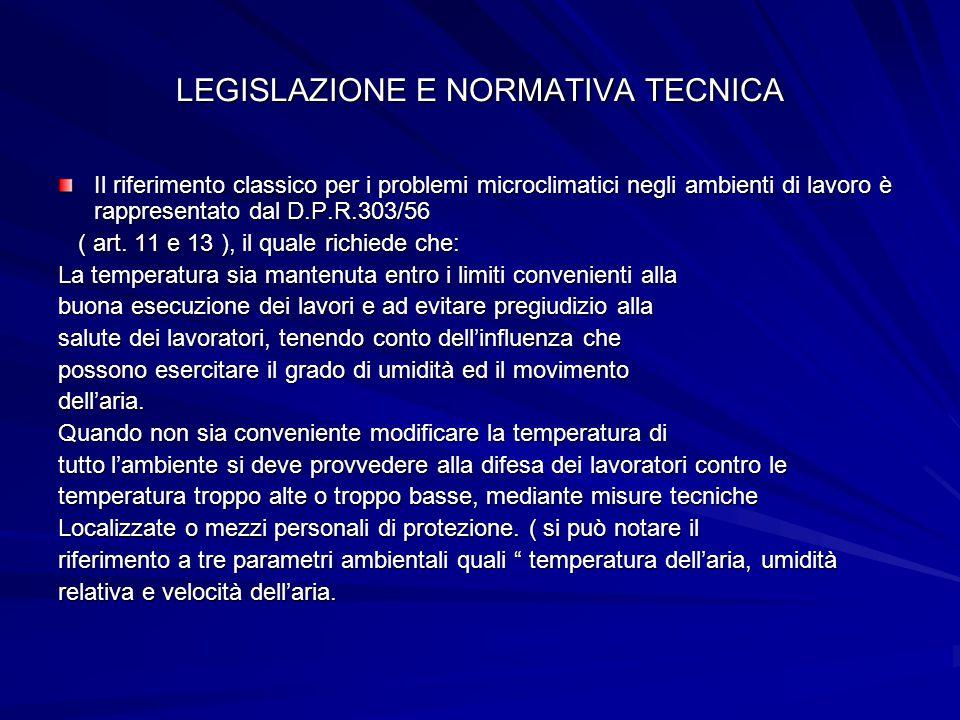 LEGISLAZIONE E NORMATIVA TECNICA Il riferimento classico per i problemi microclimatici negli ambienti di lavoro è rappresentato dal D.P.R.303/56 ( art