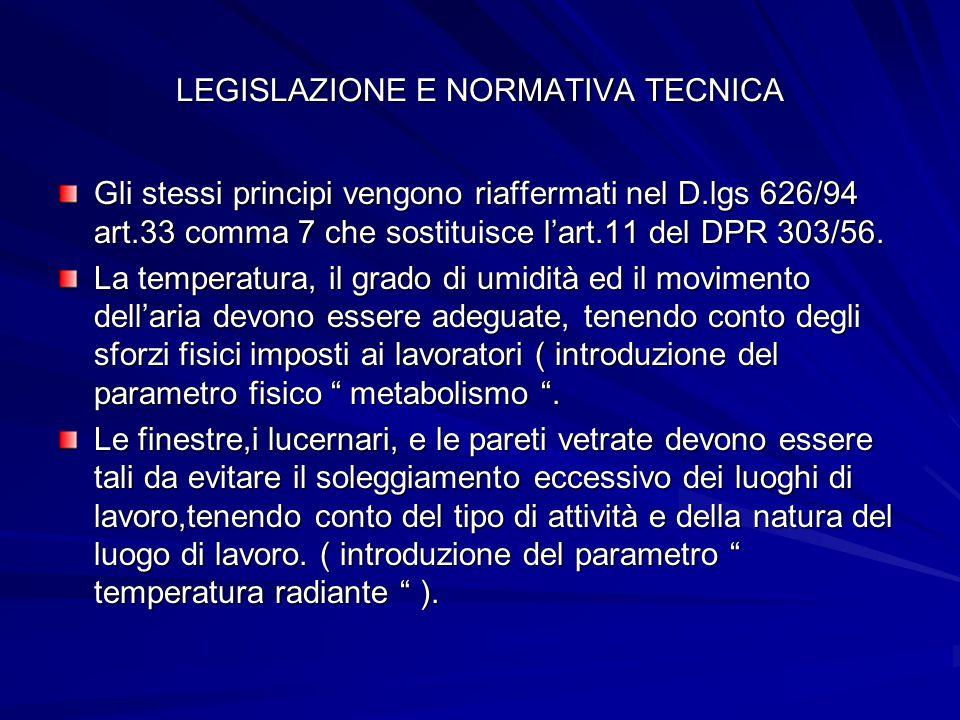 ALTRE NORME TECNICHE DI RIFERIMENTO UNI 5104/63 ( riferimento tecnico italiano ) ISO 7730 ( microclimi moderati ) ISO 7243 ( microclimi severi caldi ) ISO 1109 ( microclimi severi freddi )