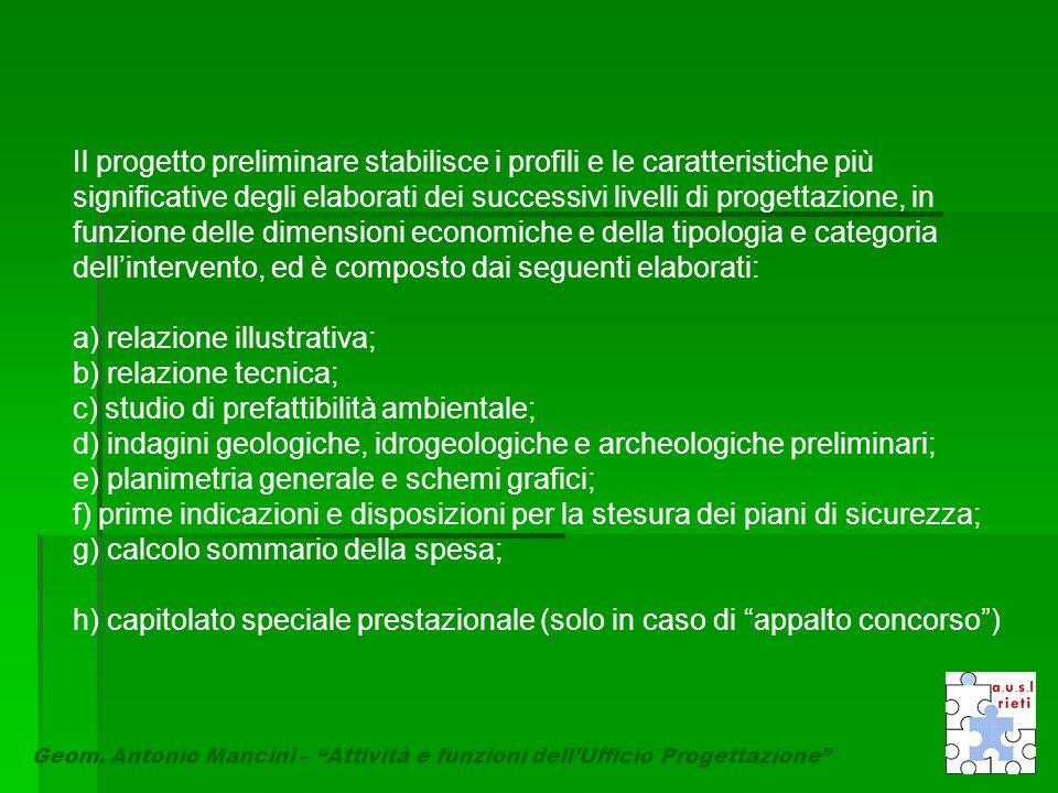 """Geom. Antonio Mancini – """"Attività e funzioni dell'Ufficio Progettazione"""" Il progetto preliminare stabilisce i profili e le caratteristiche più signifi"""