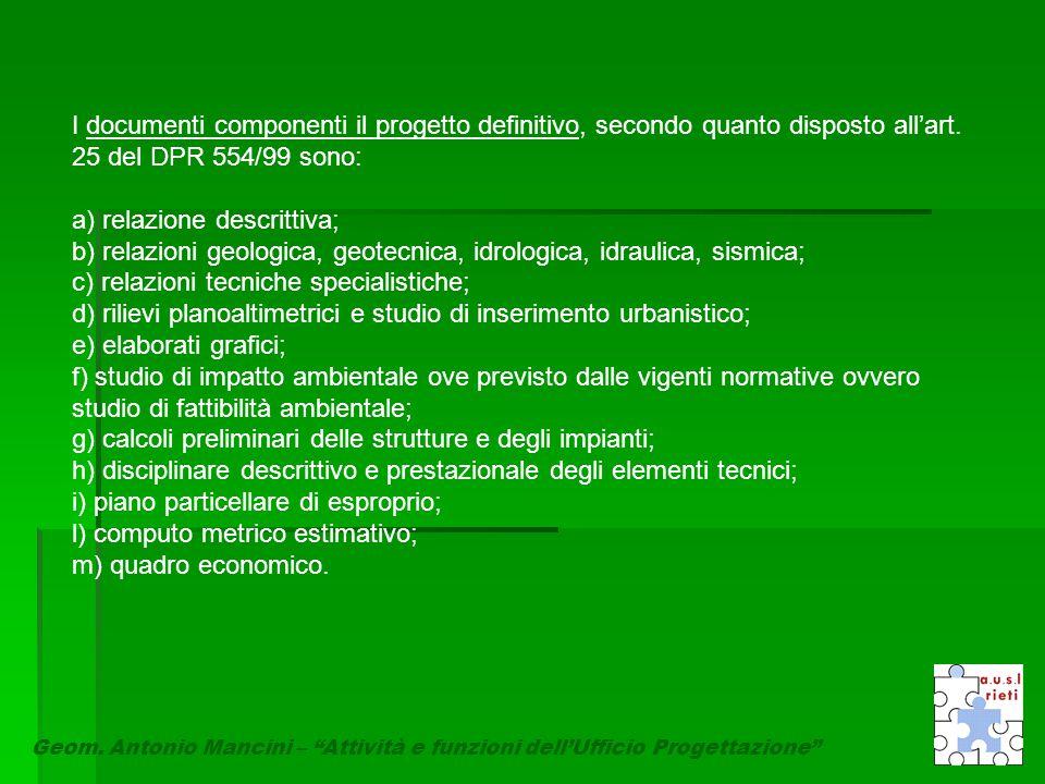 """Geom. Antonio Mancini – """"Attività e funzioni dell'Ufficio Progettazione"""" I documenti componenti il progetto definitivo, secondo quanto disposto all'ar"""