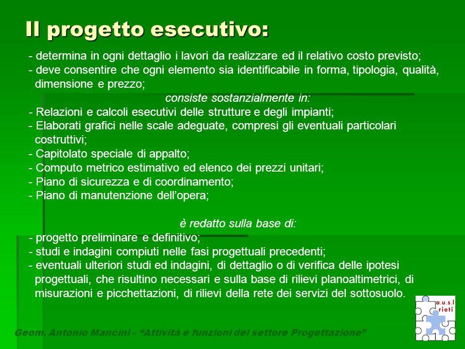 """Il progetto esecutivo: Geom. Antonio Mancini – """"Attività e funzioni del settore Progettazione"""" - determina in ogni dettaglio i lavori da realizzare ed"""