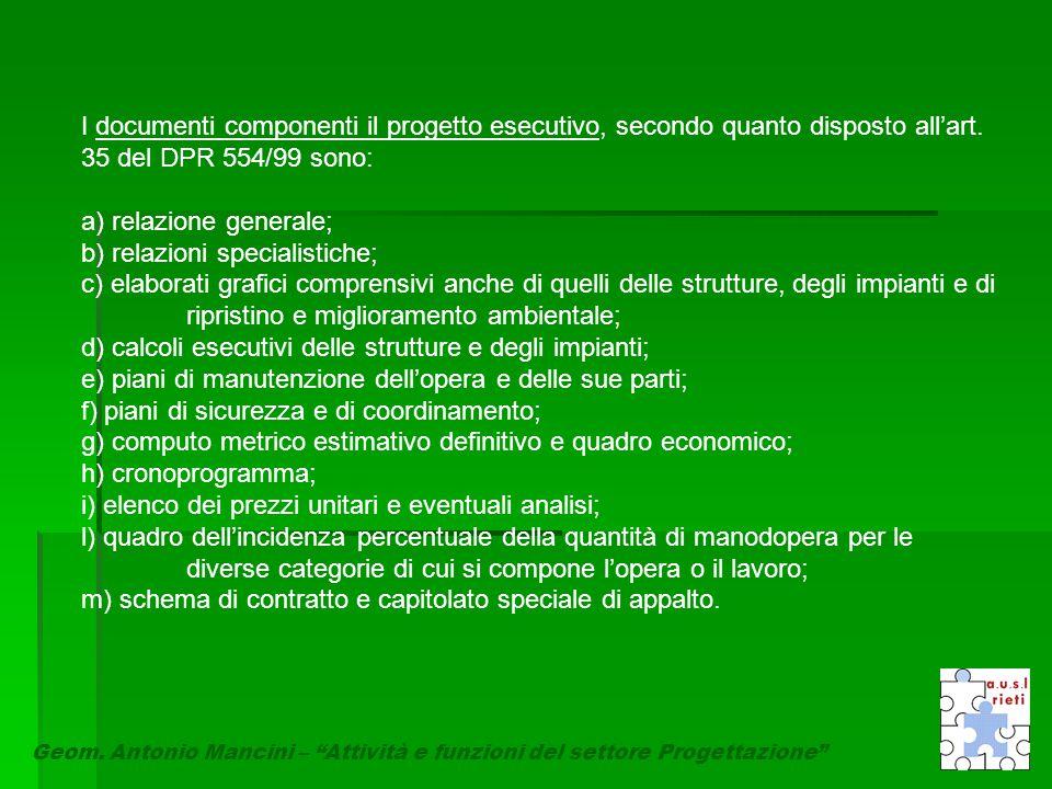 """Geom. Antonio Mancini – """"Attività e funzioni del settore Progettazione"""" I documenti componenti il progetto esecutivo, secondo quanto disposto all'art."""