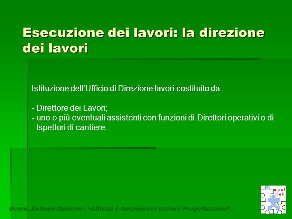 """Esecuzione dei lavori: la direzione dei lavori Geom. Antonio Mancini – """"Attività e funzioni del settore Progettazione"""" Istituzione dell'Ufficio di Dir"""