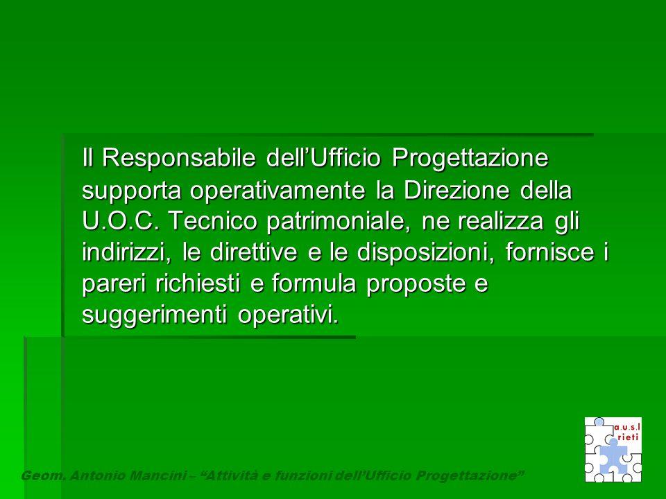 Il Responsabile dell'Ufficio Progettazione supporta operativamente la Direzione della U.O.C. Tecnico patrimoniale, ne realizza gli indirizzi, le diret