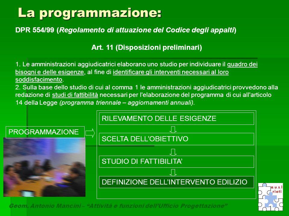 """La programmazione: Geom. Antonio Mancini – """"Attività e funzioni dell'Ufficio Progettazione"""" DPR 554/99 (Regolamento di attuazione del Codice degli app"""