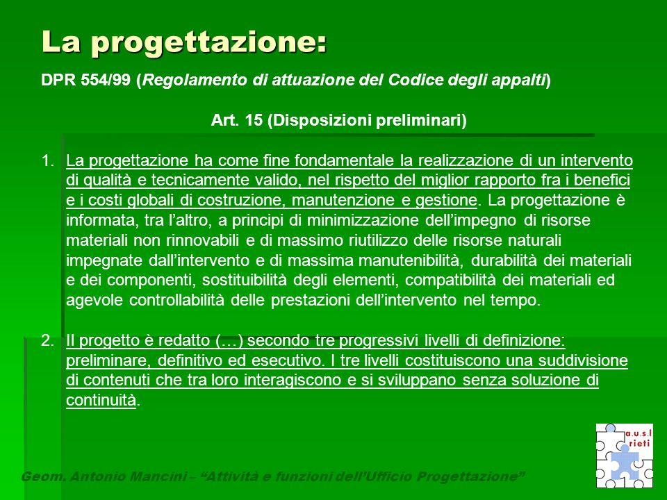 """La progettazione: Geom. Antonio Mancini – """"Attività e funzioni dell'Ufficio Progettazione"""" DPR 554/99 (Regolamento di attuazione del Codice degli appa"""
