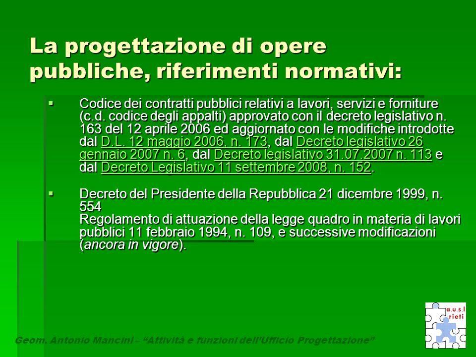 """La progettazione di opere pubbliche, riferimenti normativi: Geom. Antonio Mancini – """"Attività e funzioni dell'Ufficio Progettazione""""  Codice dei cont"""