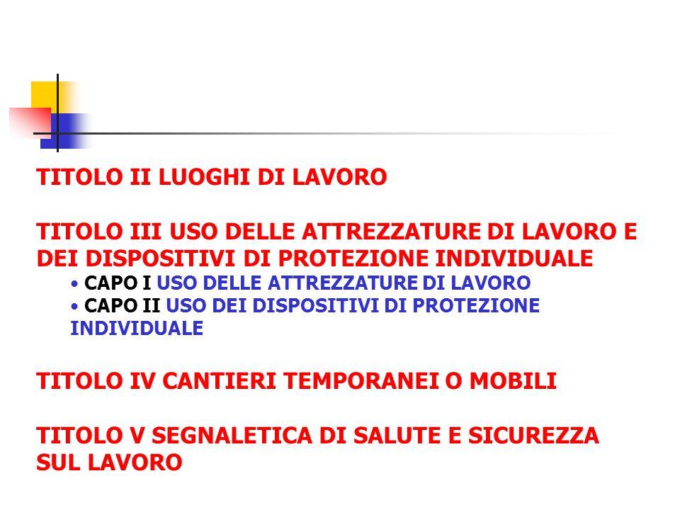 TITOLO II LUOGHI DI LAVORO TITOLO III USO DELLE ATTREZZATURE DI LAVORO E DEI DISPOSITIVI DI PROTEZIONE INDIVIDUALE CAPO I USO DELLE ATTREZZATURE DI LA