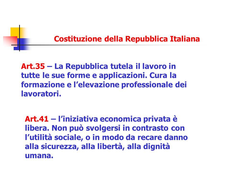 Art.35 – La Repubblica tutela il lavoro in tutte le sue forme e applicazioni. Cura la formazione e l'elevazione professionale dei lavoratori. Art.41 –