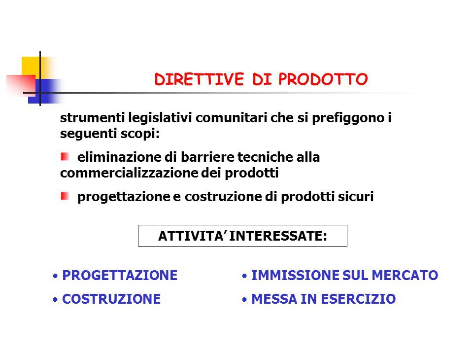 strumenti legislativi comunitari che si prefiggono i seguenti scopi: eliminazione di barriere tecniche alla commercializzazione dei prodotti progettaz