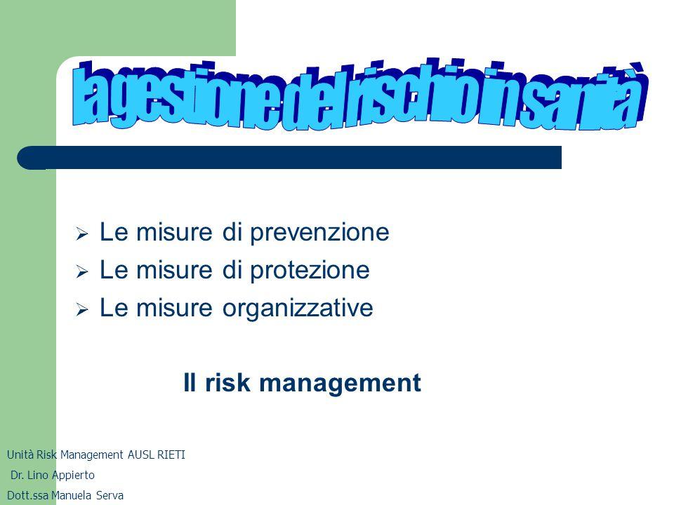  Le misure di prevenzione  Le misure di protezione  Le misure organizzative Il risk management Unità Risk Management AUSL RIETI Dr. Lino Appierto D
