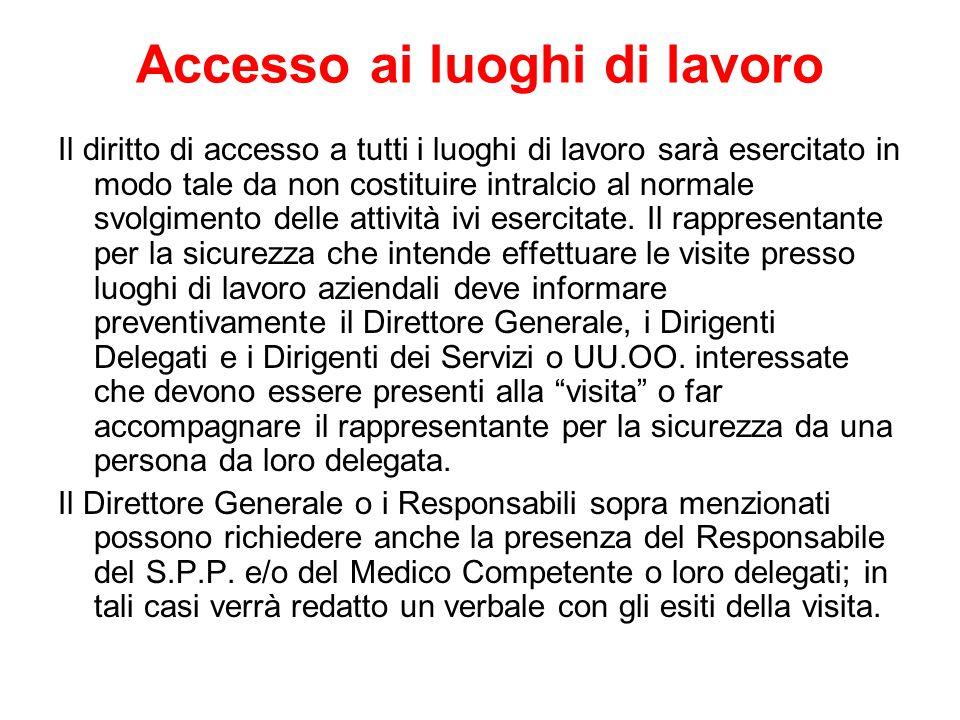 Accesso ai luoghi di lavoro Il diritto di accesso a tutti i luoghi di lavoro sarà esercitato in modo tale da non costituire intralcio al normale svolgimento delle attività ivi esercitate.