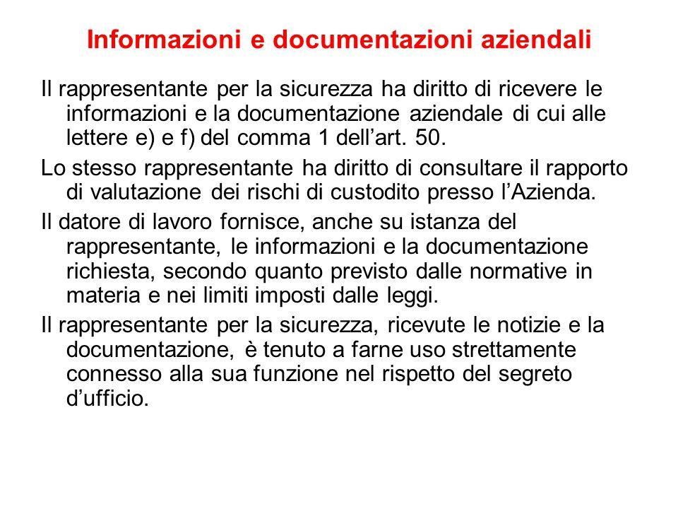 Informazioni e documentazioni aziendali Il rappresentante per la sicurezza ha diritto di ricevere le informazioni e la documentazione aziendale di cui alle lettere e) e f) del comma 1 dell'art.