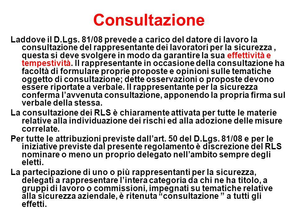 Consultazione Laddove il D.Lgs.