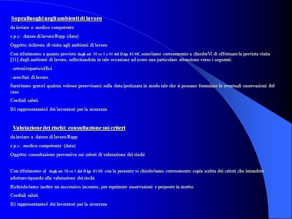 Sopralluoghi negli ambienti di lavoro da inviare a: medico competente e p.c.: datore di lavoro/Rspp (data) Oggetto: richiesta di visita agli ambienti