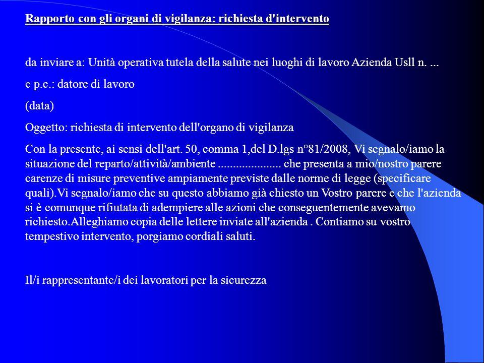 Rapporto con gli organi di vigilanza: richiesta d'intervento da inviare a: Unità operativa tutela della salute nei luoghi di lavoro Azienda Usll n....