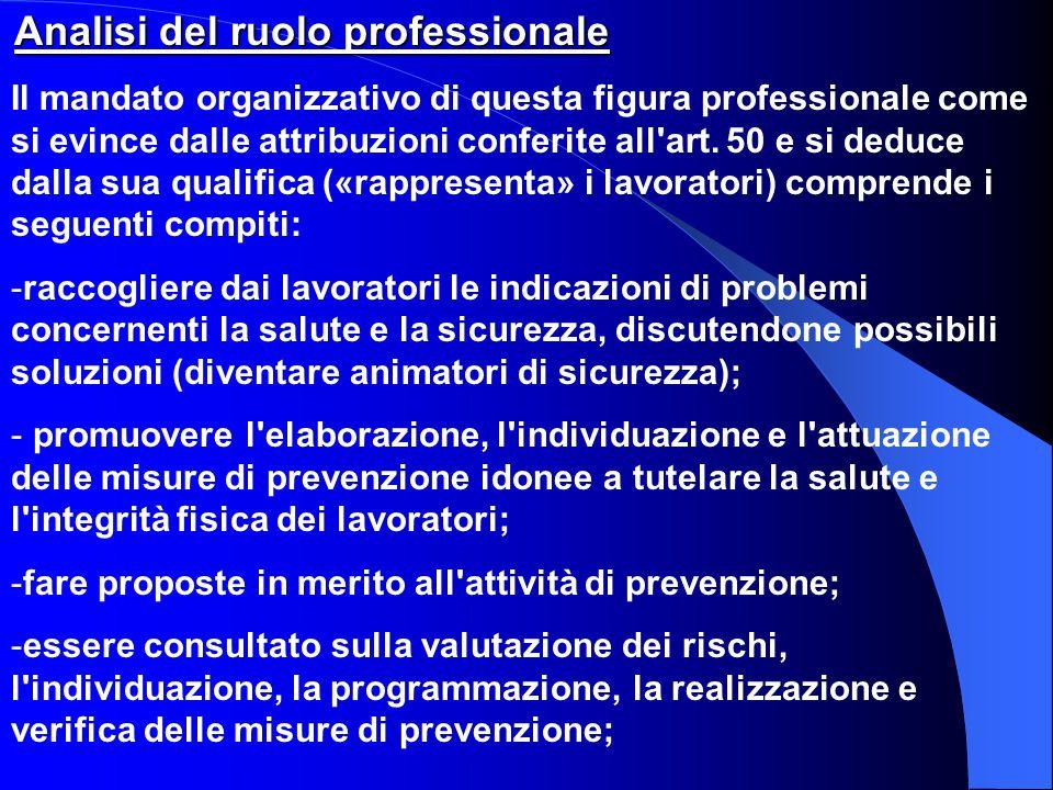 Analisi del ruolo professionale Il mandato organizzativo di questa figura professionale come si evince dalle attribuzioni conferite all'art. 50 e si d