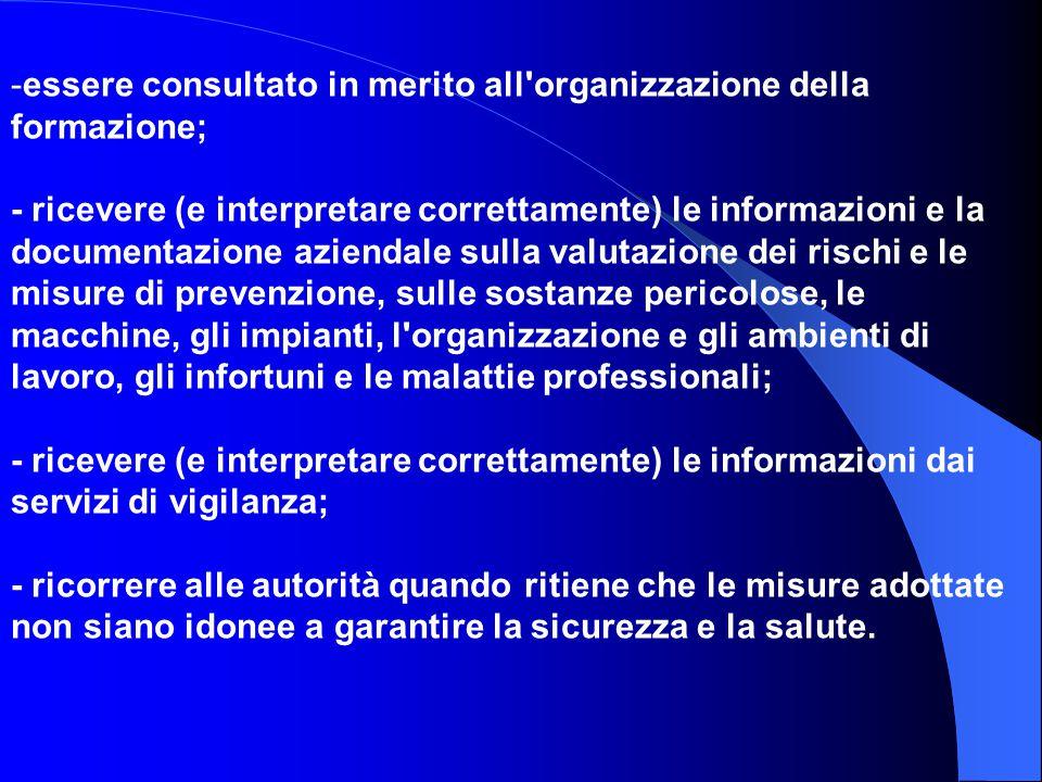 - -essere consultato in merito all'organizzazione della formazione; - ricevere (e interpretare correttamente) le informazioni e la documentazione azie