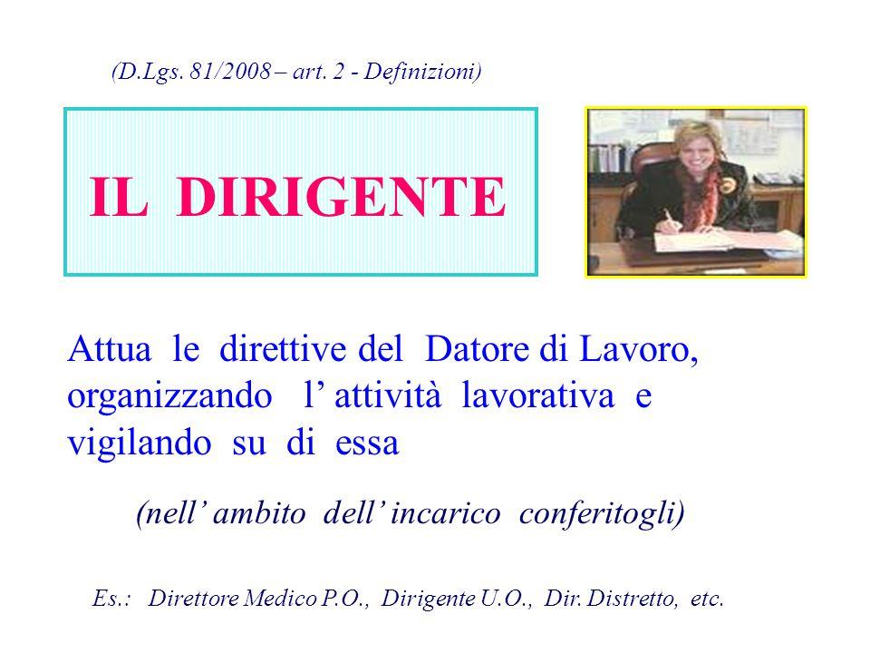 (D.Lgs. 81/2008 – art. 2 - Definizioni) IL DIRIGENTE Attua le direttive del Datore di Lavoro, organizzando l' attività lavorativa e vigilando su di es