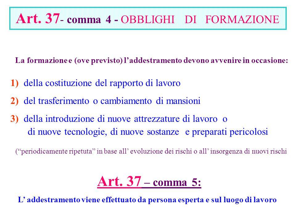 Art. 37 - comma 4 - OBBLIGHI DI FORMAZIONE La formazione e (ove previsto) l'addestramento devono avvenire in occasione: 1) della costituzione del rapp