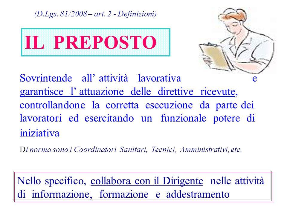 (D.Lgs. 81/2008 – art. 2 - Definizioni) IL PREPOSTO Sovrintende all' attività lavorativa e garantisce l' attuazione delle direttive ricevute, controll