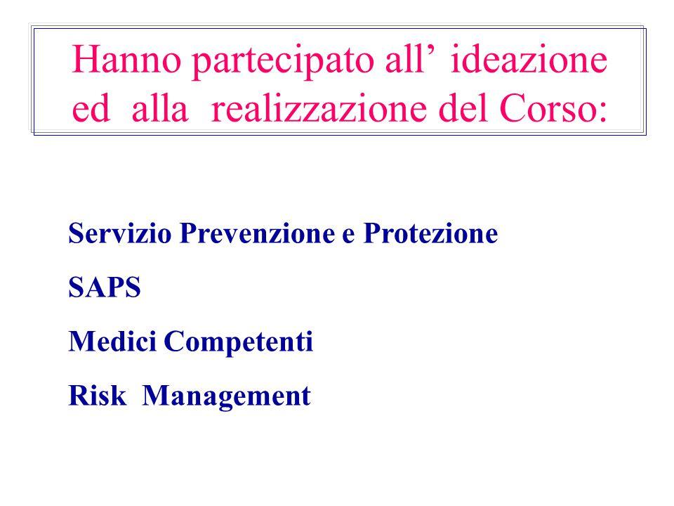 Hanno partecipato all' ideazione ed alla realizzazione del Corso: Servizio Prevenzione e Protezione SAPS Medici Competenti Risk Management