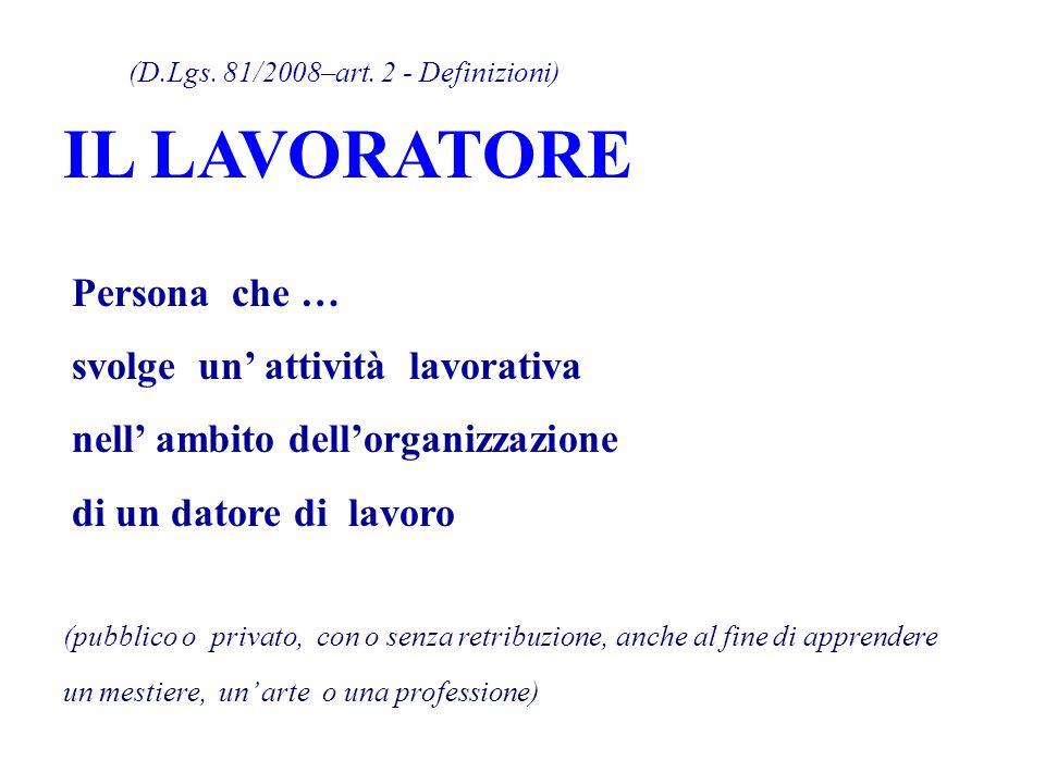 (D.Lgs. 81/2008–art. 2 - Definizioni) IL LAVORATORE Persona che … svolge un' attività lavorativa nell' ambito dell'organizzazione di un datore di lavo