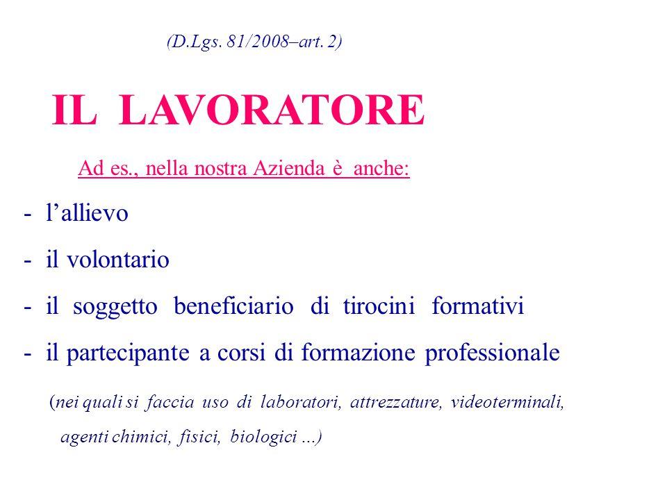 (D.Lgs. 81/2008–art. 2) IL LAVORATORE Ad es., nella nostra Azienda è anche: - l'allievo - il volontario - il soggetto beneficiario di tirocini formati