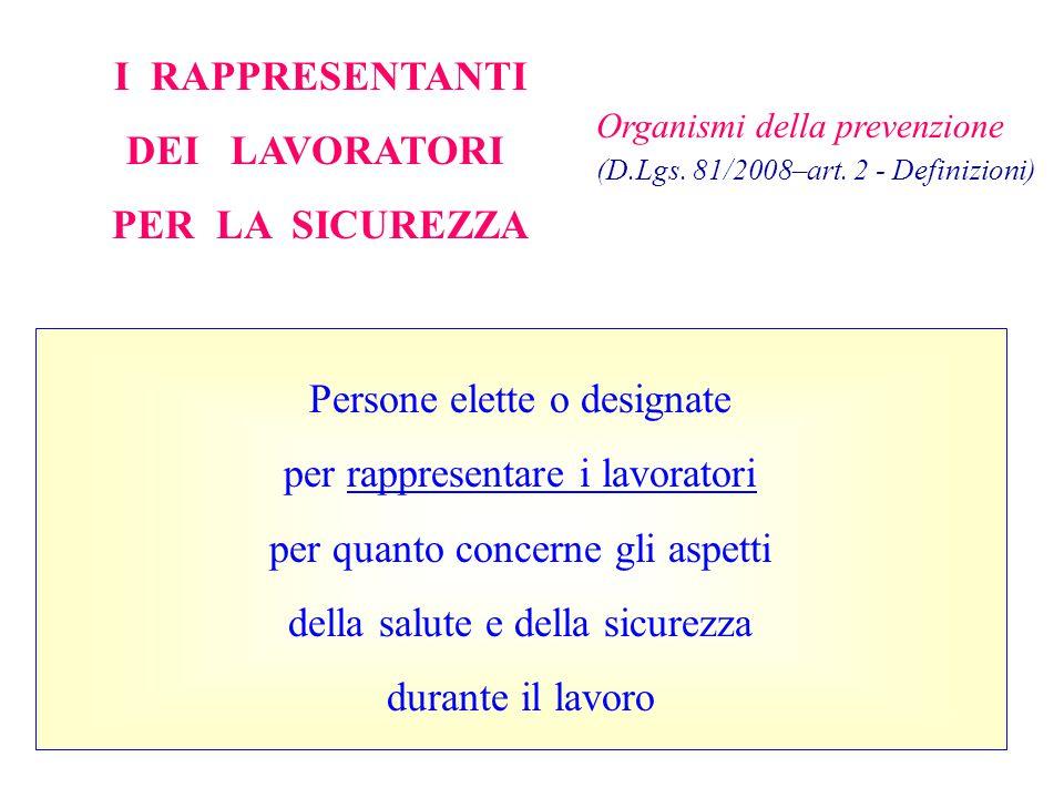 Organismi della prevenzione (D.Lgs. 81/2008–art. 2 - Definizioni) I RAPPRESENTANTI DEI LAVORATORI PER LA SICUREZZA Persone elette o designate per rapp