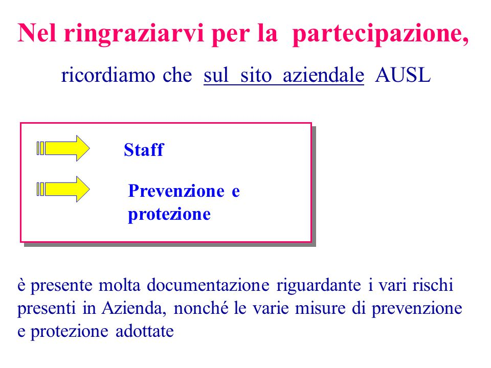 Nel ringraziarvi per la partecipazione, ricordiamo che sul sito aziendale AUSL Staff Prevenzione e protezione è presente molta documentazione riguarda