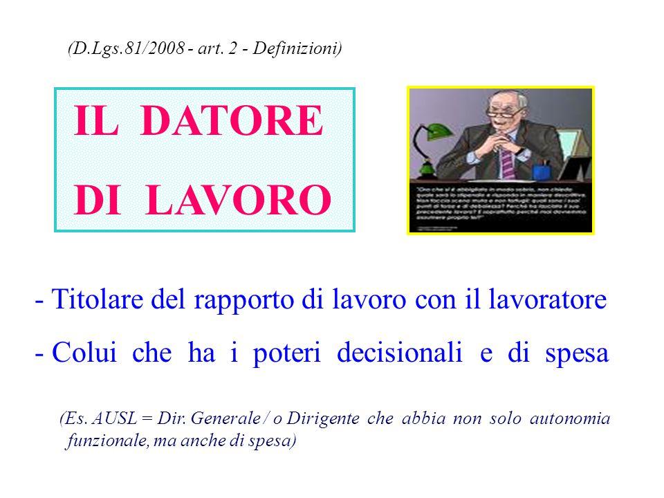 (D.Lgs.81/2008 - art. 2 - Definizioni) IL DATORE DI LAVORO - Titolare del rapporto di lavoro con il lavoratore - Colui che ha i poteri decisionali e d