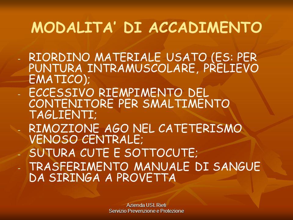 MODALITA' DI ACCADIMENTO - - RIORDINO MATERIALE USATO (ES: PER PUNTURA INTRAMUSCOLARE, PRELIEVO EMATICO); - - ECCESSIVO RIEMPIMENTO DEL CONTENITORE PE