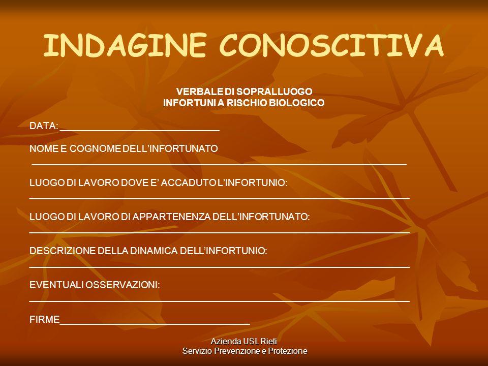 INDAGINE CONOSCITIVA VERBALE DI SOPRALLUOGO INFORTUNI A RISCHIO BIOLOGICO DATA: ______________________________ NOME E COGNOME DELL'INFORTUNATO _______