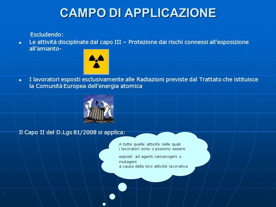 CAMPO DI APPLICAZIONE Escludendo: Le attività disciplinate dal capo III – Protezione dai rischi connessi all'esposizione all'amianto- I lavoratori esp