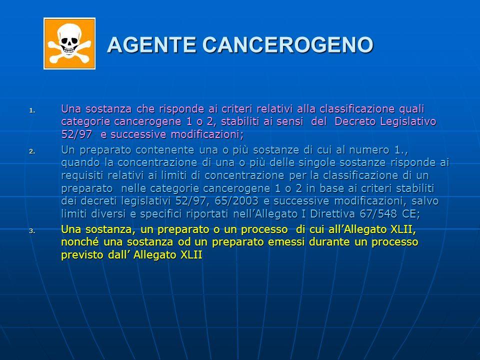 AGENTE CANCEROGENO 1. Una sostanza che risponde ai criteri relativi alla classificazione quali categorie cancerogene 1 o 2, stabiliti ai sensi del Dec