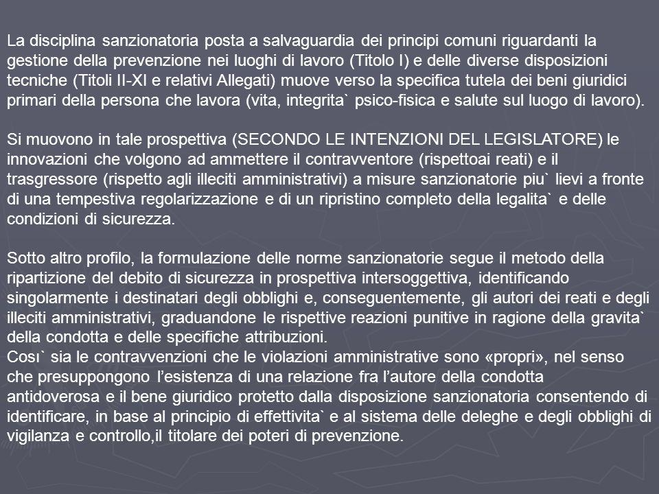 La disciplina sanzionatoria posta a salvaguardia dei principi comuni riguardanti la gestione della prevenzione nei luoghi di lavoro (Titolo I) e delle