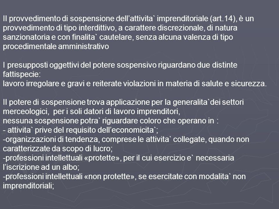 Il provvedimento di sospensione dell'attivita` imprenditoriale (art.14), è un provvedimento di tipo interdittivo, a carattere discrezionale, di natura