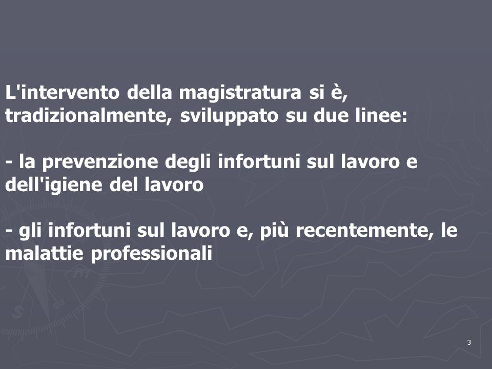 3.. L'intervento della magistratura si è, tradizionalmente, sviluppato su due linee: - la prevenzione degli infortuni sul lavoro e dell'igiene del lav