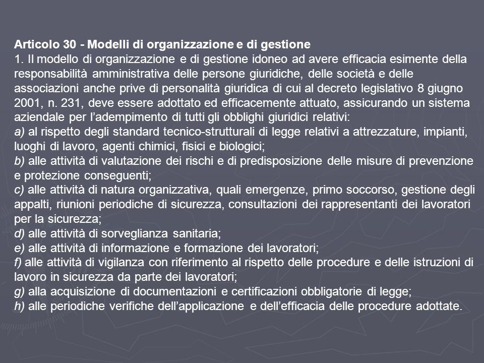 Articolo 30 - Modelli di organizzazione e di gestione 1. Il modello di organizzazione e di gestione idoneo ad avere efficacia esimente della responsab