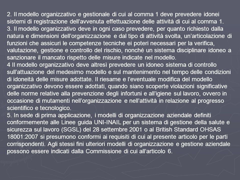 2. Il modello organizzativo e gestionale di cui al comma 1 deve prevedere idonei sistemi di registrazione dell'avvenuta effettuazione delle attività d